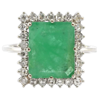 Solid 18K White Gold Natural Emerald & Genuine Diamond Ring 4.5g