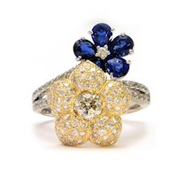 Solid 18K White & Yellow Gold Genuine Diamond & Natural Sapphire Flower Ring