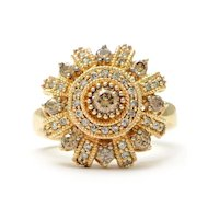 Solid 14K Yellow Gold Champagne Diamond Cluster Ring! Excellent Condition! 9.5g