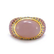 Solid 18K Yellow Gold Genuine Rose Quartz, Diamond & Pink Sapphire Ring 12.8g