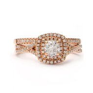 Solid 14K Rose Gold Double Halo Natural Diamond Ring & Band Set 3.6g