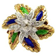 Solid 18K Yellow Gold Flower Enamel & Genuine Diamond Ring 12.3g