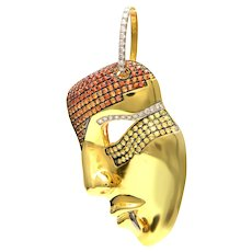 Solid 18K Yellow Gold Mask Pin Sapphires & Diamonds Excellent Condition 11.9g