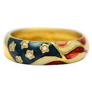 Solid 18K Yellow Gold Natural Diamond and Enamel American Flag Ring 4.7g