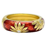 Solid 18K Yellow Gold & Natural Diamond Enamel Flower Ring 7.6g