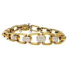 Solid 18K Yellow Gold & Genuine Diamond Link Bracelet 29.8g