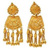 Solid 21K Yellow Gold Gorgeous Chandelier Dangle Earrings 11.6g