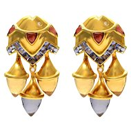 Solid 18K Yellow Gold Genuine Diamond, Citrine, Tanzanite & Topaz Earrings 37.9g