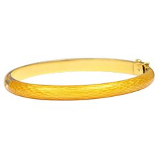 Solid 18K Yellow Gold Yellow Enamel Bangle Bracelet 24.2g
