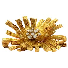 Solid 18K Yellow Gold Starburst Genuine Diamond Brooch 18.0g