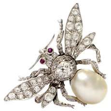 Pure Platinum Bug Brooch with Genuine Ruby and Pearl in Excellent Condition!