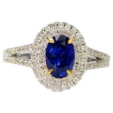Solid 18K White Gold Genuine Sapphire & Natural Diamond Ring!