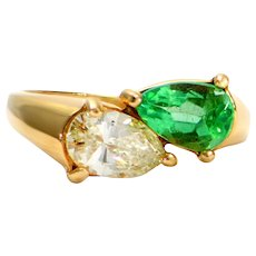 Solid 14K Yellow Gold Pear Shaped Genuine Emerald & Natural Diamond Ring 3.3g