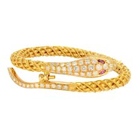 Solid 22K Yellow Gold Textured Snake Bangle W/ Genuine Diamonds & Ruby 62.2g