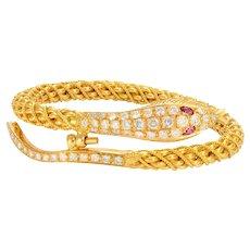 Solid 22K Yellow Gold Textured Snake Bangle W/ Genuine Diamonds & Ruby 62.2g