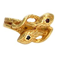 Solid 14K Yellow Gold Genuine Ruby & Sapphire Double Snake Ring 7.6g