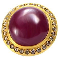 100% Authentic Mouawad 22K Yellow Gold Genuine Cabochon Ruby & Natural Diamond Ring in Excellent Condition