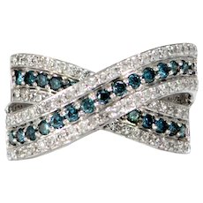 Solid 14K White Gold Natural Diamond, & Blue Diamond Criss Cross Band!