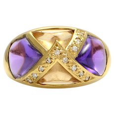 Solid 18K Yellow Gold Genuine Amethyst, Citrine & Diamond Ring