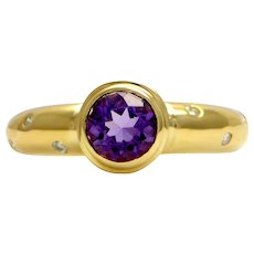 Solid 14K Yellow Gold Genuine Amethyst & Natural Diamond Ring 3.3g