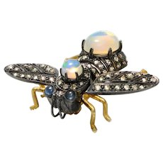 Solid 18K Yellow Gold & 925 Diamond, Opal & Sapphire Bee Pin/Pendant 6.8g