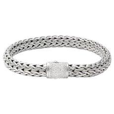 100% Authentic John Hardy Sterling Silver & Genuine Diamond Bracelet 39.8g