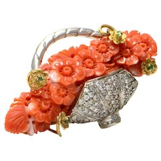 Solid 18K Yellow Gold & 14K White Gold Genuine Diamond, Coral & Emerald Brooch