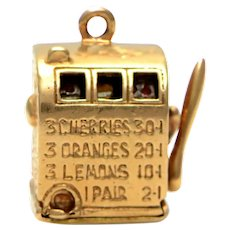 Solid 14K Yellow Gold Slot Machine Pendant / Charm 7.2g
