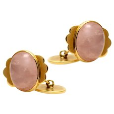 Solid 14K Yellow Gold Cabochon Rose Quartz Cufflinks! 13.16g