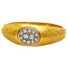 100% Authentic Jabel Solid 18 Karat Yellow Gold and Natural Diamond Ring 6.2g