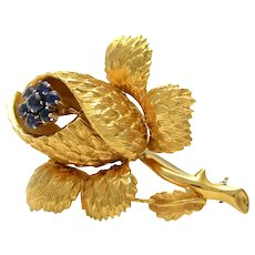 Solid 18K Yellow Gold Genuine Sapphire Flower Brooch/ Pin 13.9 grams