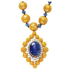 Solid 18 Karat Yellow Gold, Genuine Diamond & Sapphire Beaded Pendant Necklace!