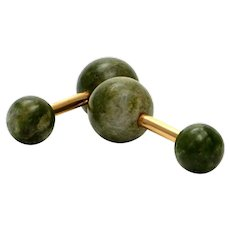 Solid 14K Yellow Gold & Genuine Jade Ball Cufflinks! 10.3 grams