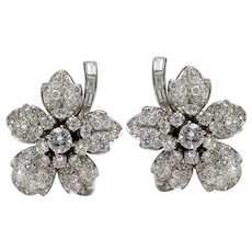 DAVID WEBB Designer Pure Platinum Genuine Diamond Floral Earrings / Ear Clips