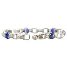 100% Authentic Tiffany & Co. Platinum Genuine Star Sapphire and Diamond Bracelet