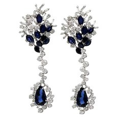 Pure Platinum with Genuine Sapphire & Diamond Drop Earrings! 24.1 grams