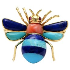 Solid 14K Yellow Gold Bee Brooch w Lapis, Coral, & Turquoise & Ruby! 4.4 grams