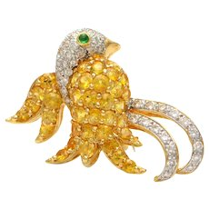 Solid 18K Yellow Gold Bird Brooch with Genuine Diamonds, Citrine & Emerald 10.1g
