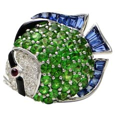 Solid 18K White Gold Fish Pendant / Pin w Genuine Diamonds Tsavorite Ruby & Enamel 8.2g