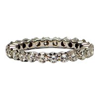 Solid 18K White Gold Genuine Diamond Eternity Band 2.00CTTW 2.9G