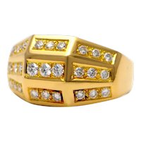 Solid 18K Yellow Gold Geometric Ring with Genuine Diamonds! 8.2 gram