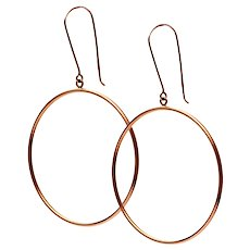 Solid 14K Rose Gold Drop Hoop Earrings! 1.6 grams!