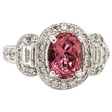 Solid 18K White Gold Genuine Rubellite & Natural Diamond Ring 5.7g