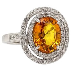 Solid 18K White Gold Natural Yellow Sapphire & Genuine Diamond Halo Ring 5.4g