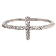 Solid 14K White Gold Genuine Diamond Sideways Cross Ring 0.11CTTW 1.1g