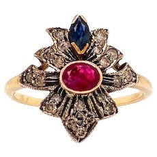 Antique Solid 14K Yellow Gold Natural Sapphire, Ruby & Diamond Ring 2.8g Size 7