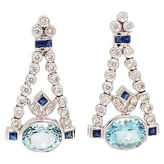Solid 14K White Gold Genuine Aquamarine, Sapphire & Diamond Chandelier Earrings