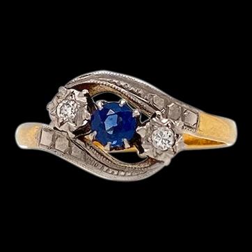 Antique Pure Platinum & 18K Yellow Gold Natural Sapphire & Diamond Ring 3.1g