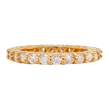 Solid 14K Yellow Gold Genuine Diamond Eternity Band 1.40CTTW 3.4g Size 5.25