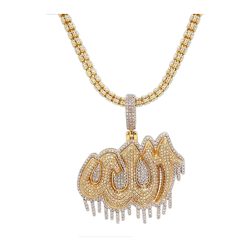Solid 10K Two-Tone Gold & Genuine Diamond Allah Pendant W/ Chain 32.7g